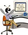 Bug sitting at Desk (Anna Lee Tic)